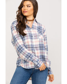 Wrangler Women's Ivory & Blue Plaid Flannel, Ivory, hi-res