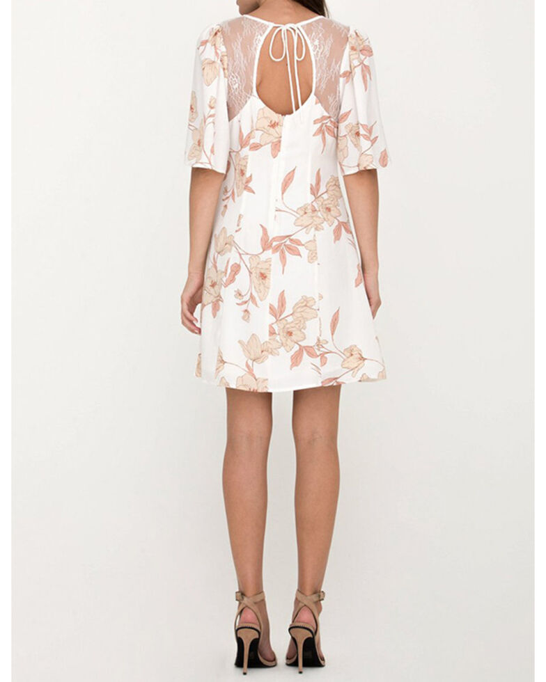 Miss Me Women's Ivory Floral Lace Back Dress, Ivory, hi-res