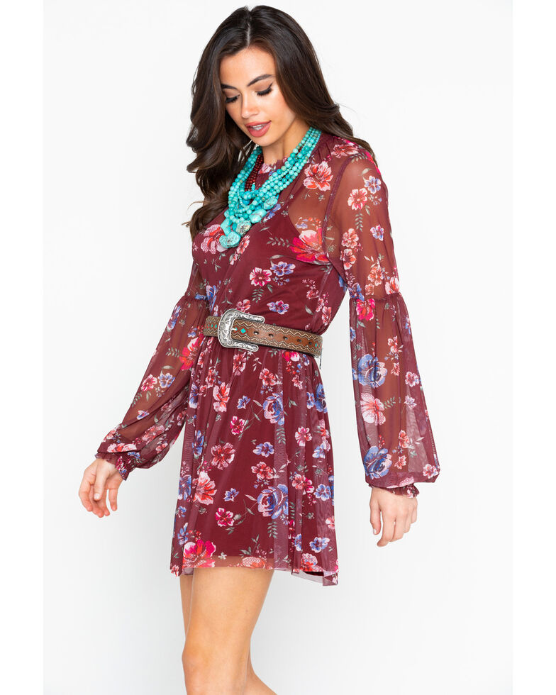 4abbb3891a29 Zoomed Image Eyeshadow Women's Floral Sheer Long Sleeve Dress , Burgundy,  hi-res