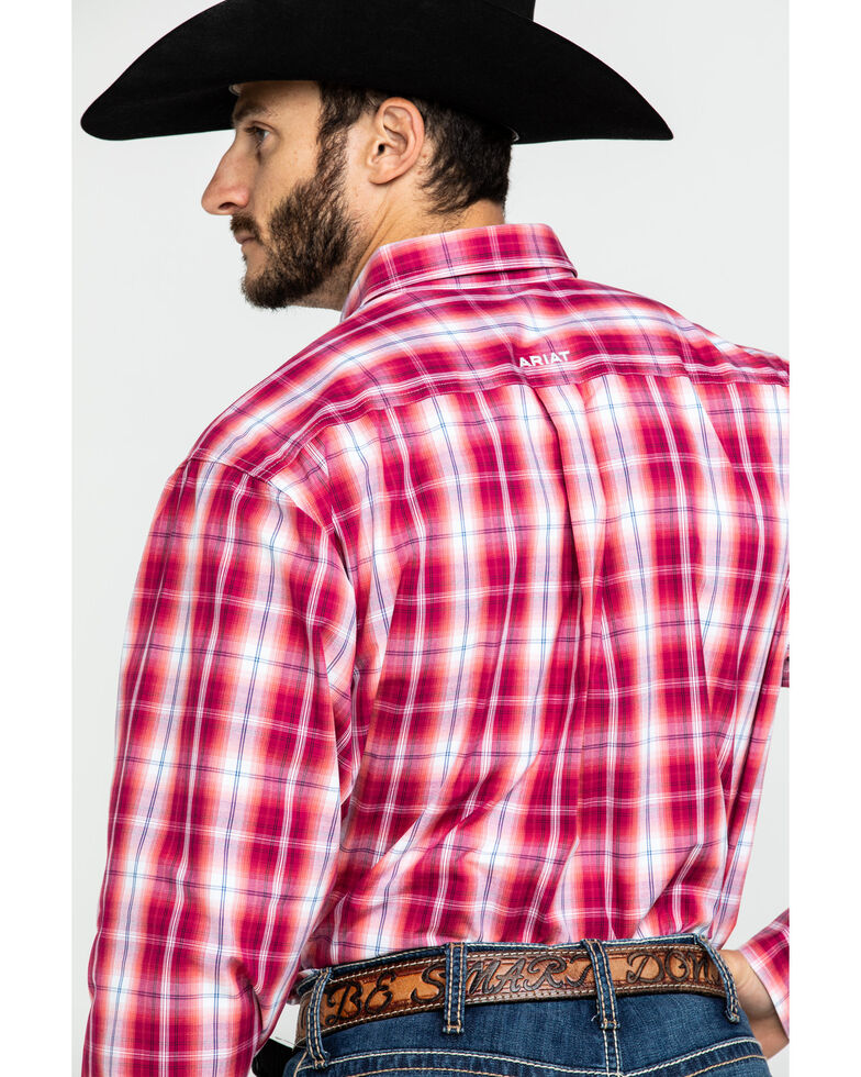 Ariat Men's Uzeman Large Plaid Long Sleeve Western Shirt , Red, hi-res