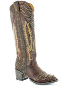 Old Gringo Women's Sofia Studded Western Boots - Snip Toe, Bronze, hi-res
