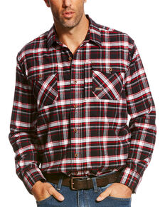 Ariat Men's Rebar Jesse Plaid Flannel Long Sleeve Work Shirt, Black, hi-res