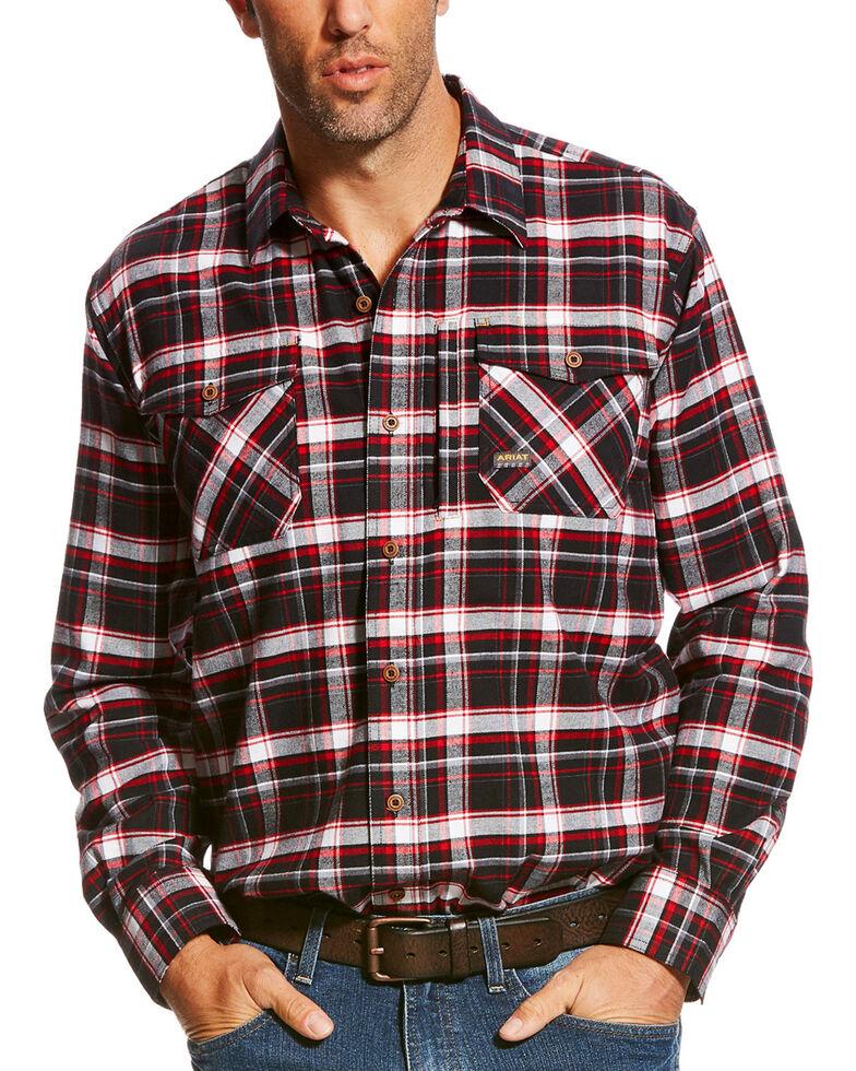 Ariat Men's Rebar Jesse Plaid Flannel Long Sleeve Work Shirt, Black, hi-res