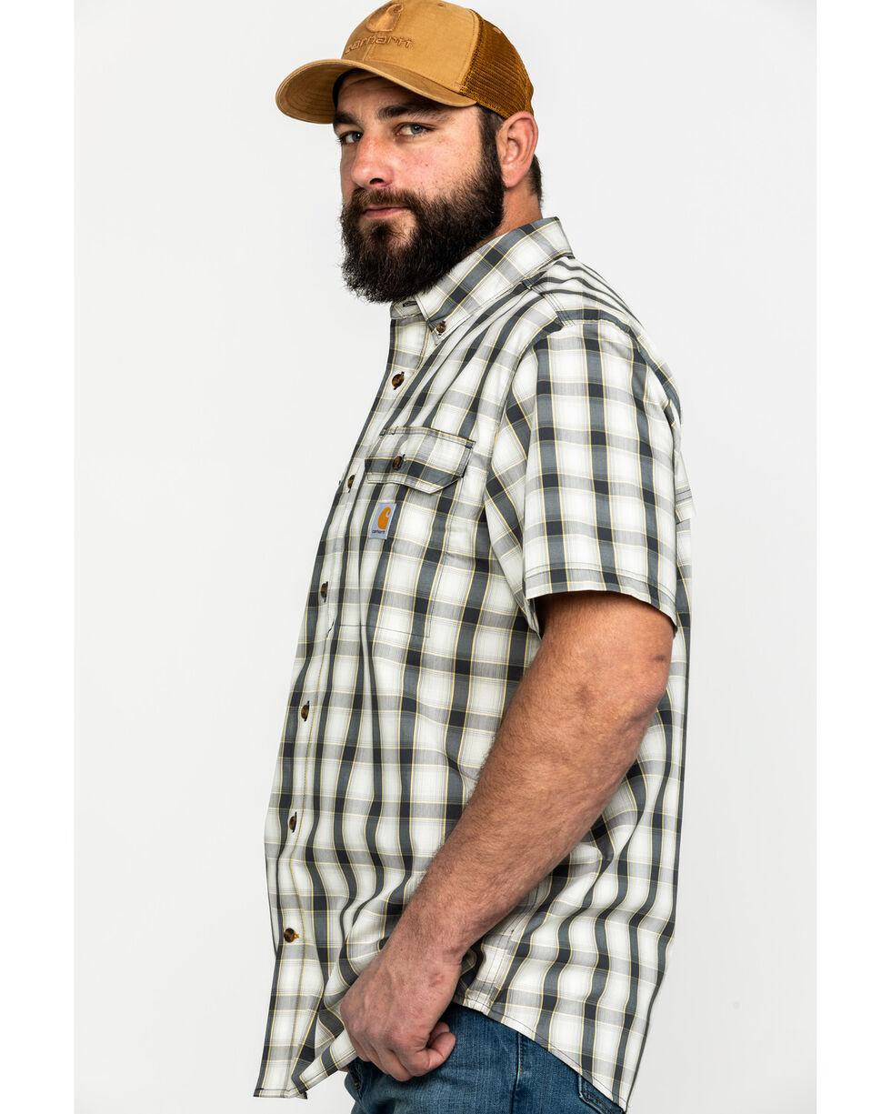 Carhartt Men's Plaid Rugged Flex Rigby Short Sleeve Work Shirt , Grey, hi-res