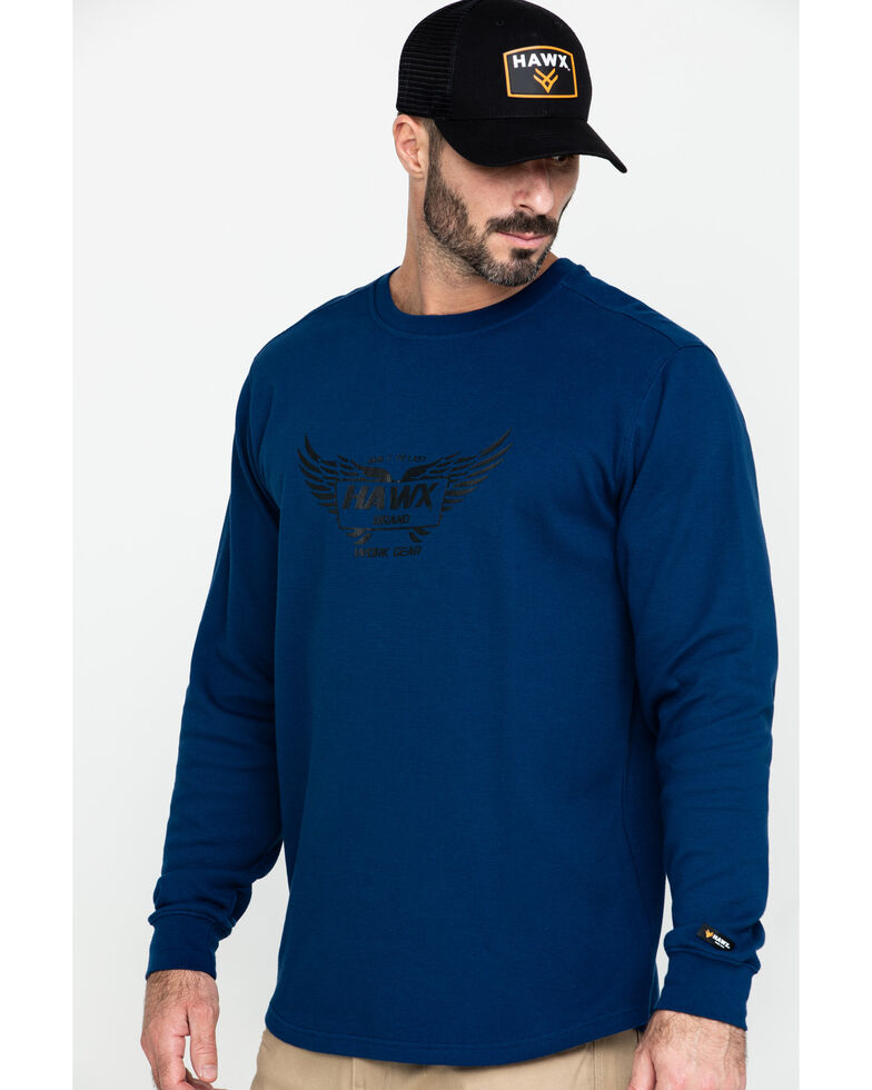 Hawx® Men's Blue Wings Graphic Thermal Long Sleeve Work T-Shirt , Blue, hi-res