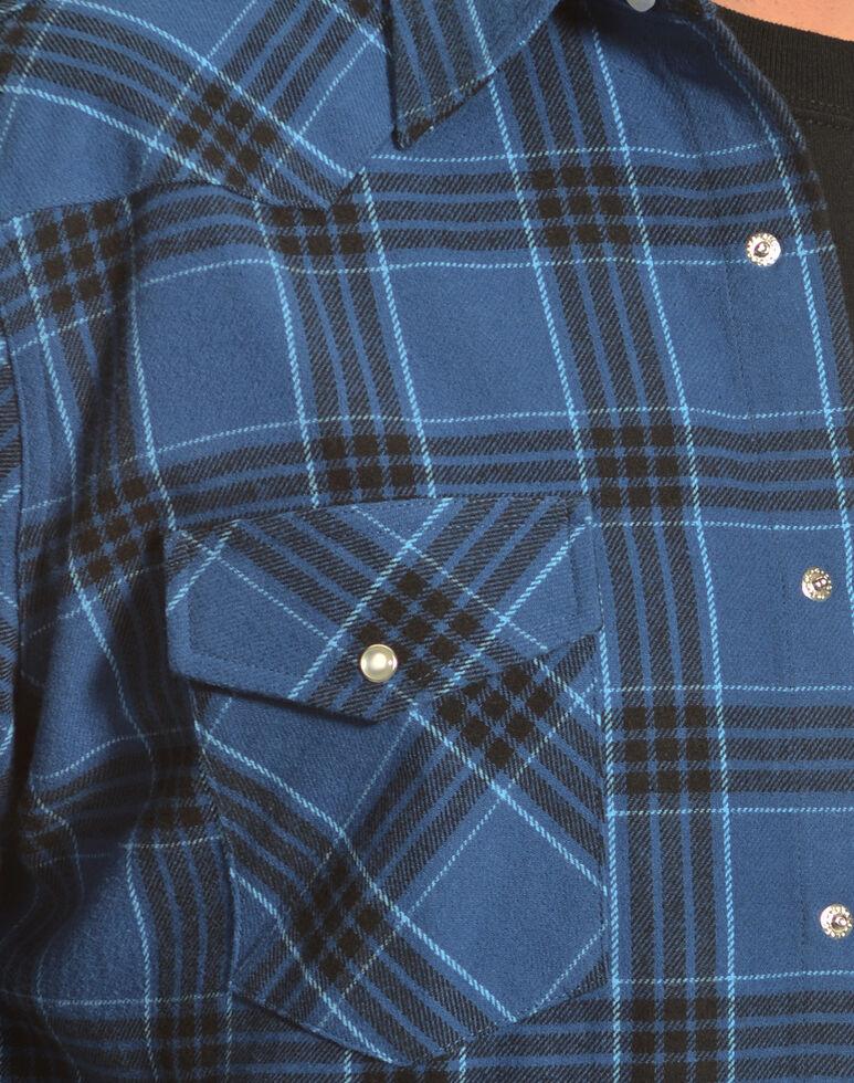Wrangler Men's Blue Plaid Flannel Shirt, Blue, hi-res
