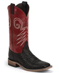 Justin Men's Bent Rail Cowboy Boots - Wide Square Toe, Black, hi-res