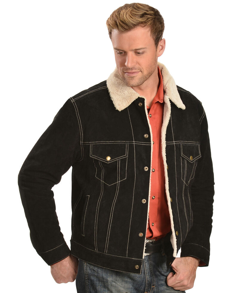 Scully Sherpa Lined Boar Suede Jacket, Black, hi-res