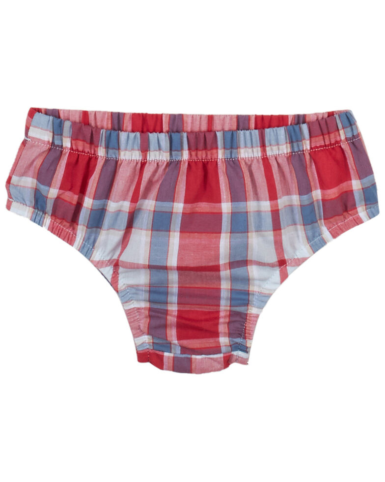 Wrangler Infant Girls' Red & Plaid Ruffle Sleeveless Dress & Diaper Cover Set , Red, hi-res