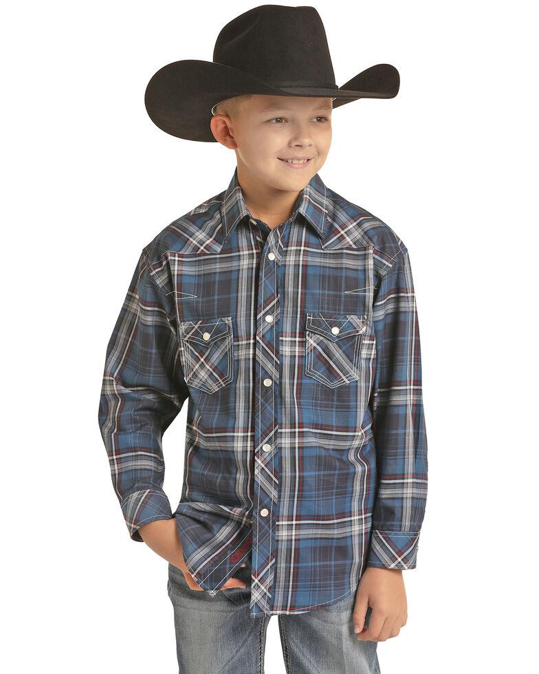 Rock & Roll Denim Boys' Blue Plaid Long Sleeve Western Shirt , Blue, hi-res