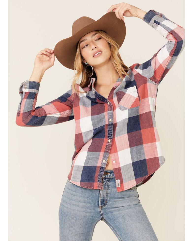 Flag & Anthem Women's Cheyenne Buffalo Plaid Long Sleeve Western Shirt , Red/white/blue, hi-res