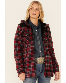 Powder River Outfitters Red Plaid Berber Fleece Zip-Front Hooded Jacket , Red, hi-res