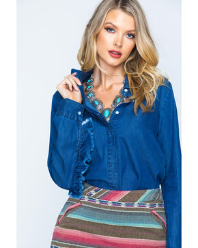 New Direction Women's Ruffle Detail Denim Shirt, Indigo, hi-res