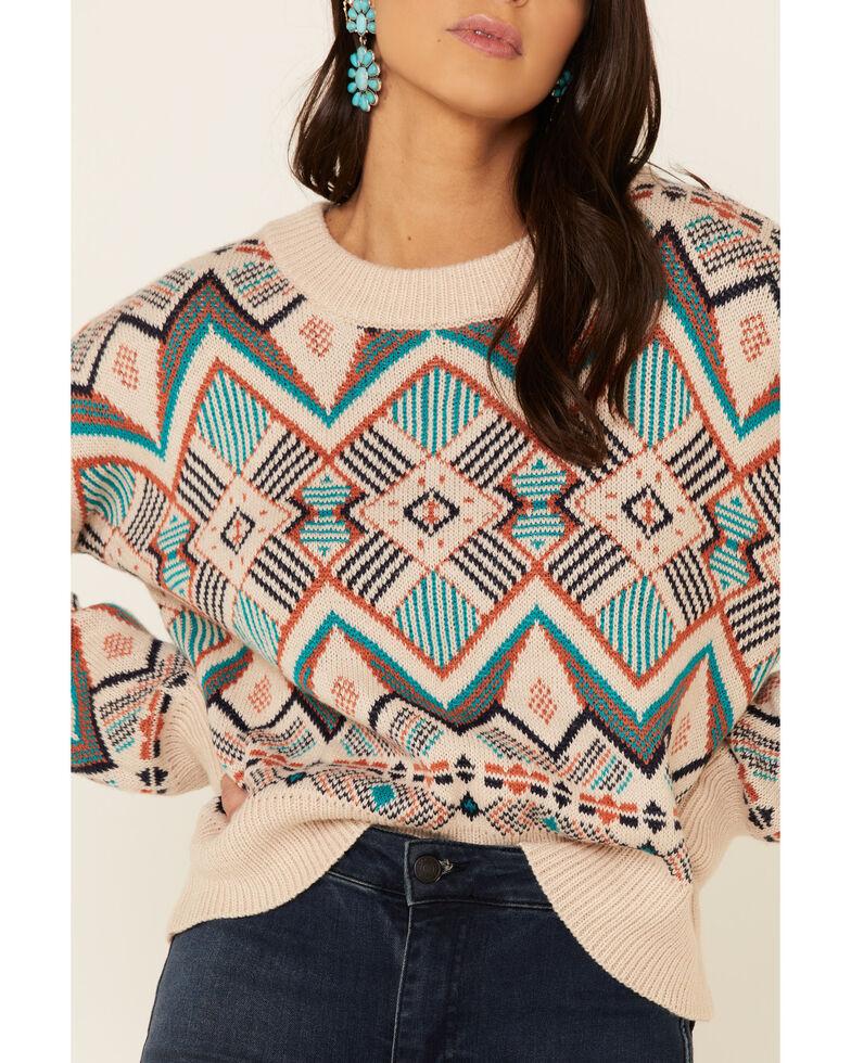 En Creme Women's Ivory Aztec Printed Pullover Sweater , Teal, hi-res