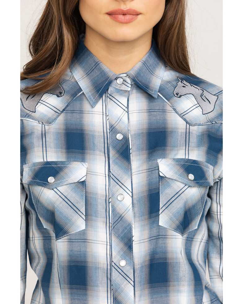 Karman Women's Blue Plaid Horse Embroidered Long Sleeve Western Shirt , Blue, hi-res
