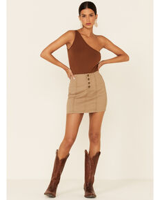 Shayanne Women's Denim Mini Skirt, Tan, hi-res