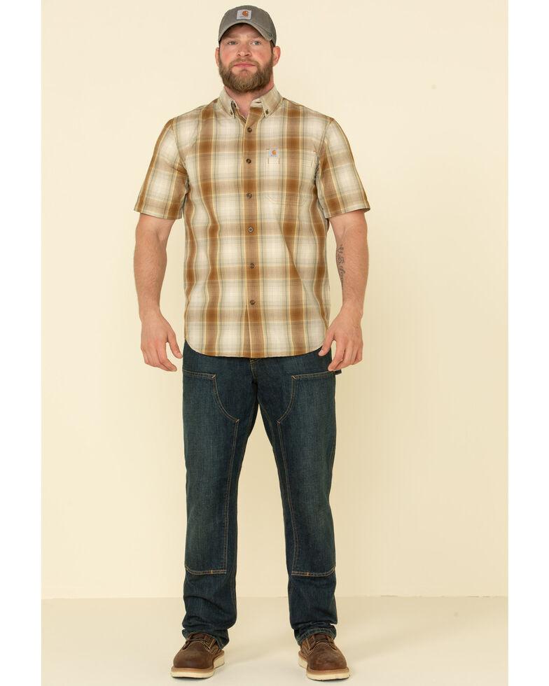 Carhartt Men's Brown Essential Plaid Button Down Short Sleeve Work Shirt , Brown, hi-res