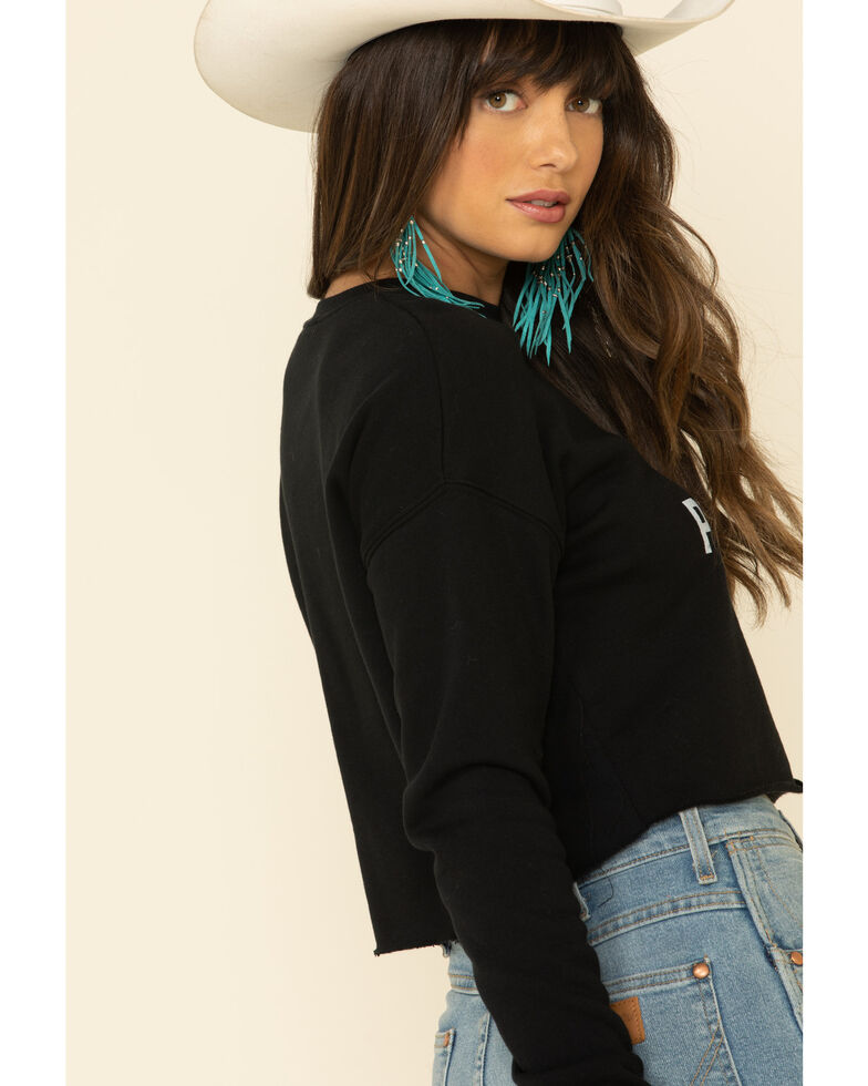 Rock & Roll Denim Women's Cropped Mas Tequila Graphic Long Sleeve Top, Black, hi-res