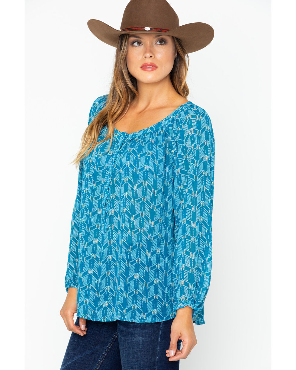 Ariat Women's Geo Print Henley Chiffen Top , Teal, hi-res
