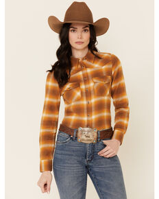 Shyanne Life Women's Gold Plaid Flannel Long Sleeve Button-Down Western Core Shirt , Gold, hi-res