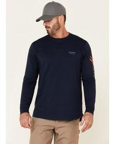 Hawx Men's Navy Original Logo Crew Long Sleeve Work T-Shirt , Navy, hi-res