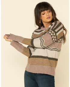 Mystree Women's Mauve Multi Striped Pullover Sweater , Mauve, hi-res