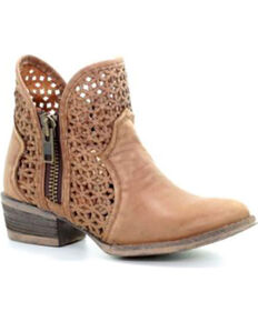 Circle G Women's Camel Cut-Out Booties - Round Toe , Camel, hi-res