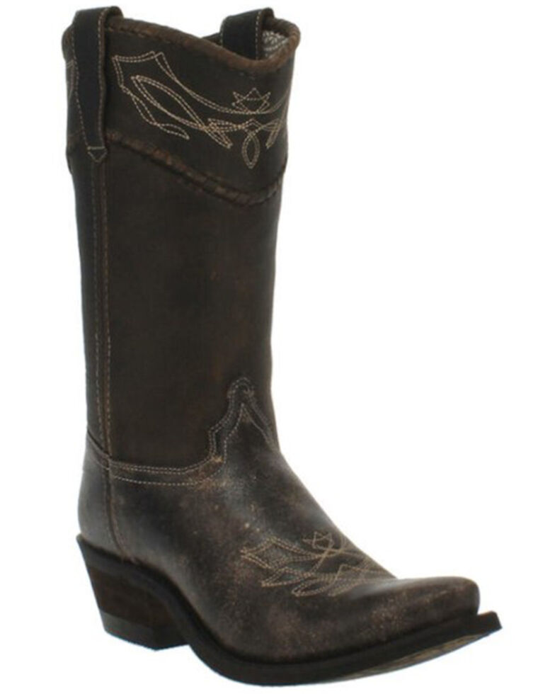 Laredo Women's Vintage Black Misty Distressed Leather Western Boot - Snip Toe , Black, hi-res