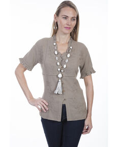 Cantina by Scully Women's Ruffle Short Sleeve Blouse, Beige/khaki, hi-res