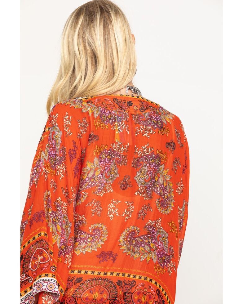 Aratta Women's Red Beaded Long Sleeve Kimono, Red, hi-res