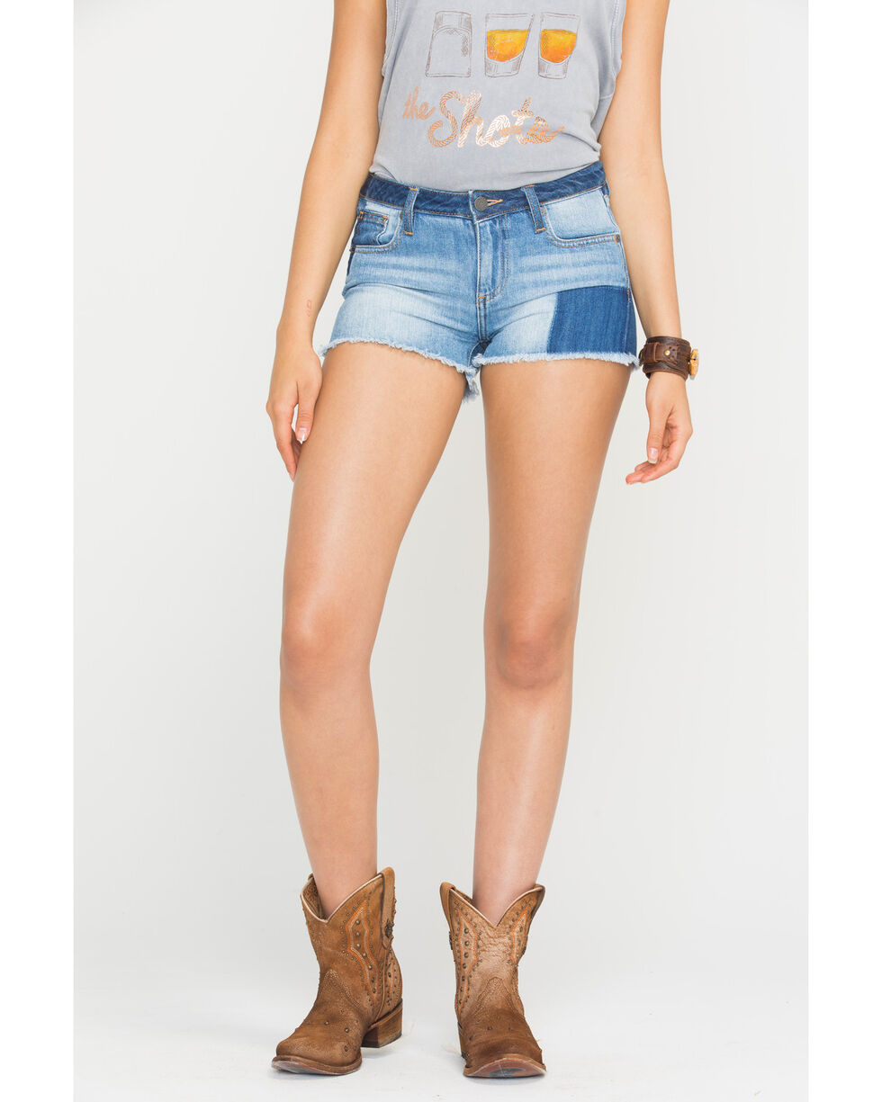 Miss Me Women's Piece It Together Mid-Rise Shorts , Indigo, hi-res