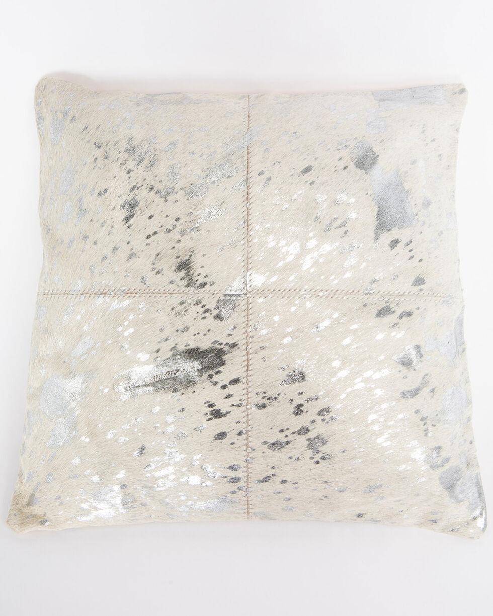 BB Ranch Metallic Cowhide Pillow, Silver, hi-res