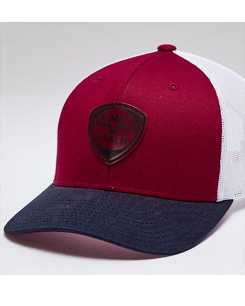 Kimes Ranch Men's Red Leather Point Logo Mesh-Back Trucker Cap , Red, hi-res
