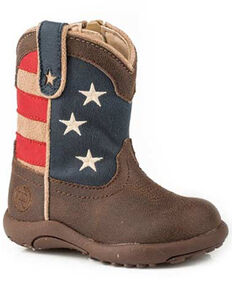 Roper Toddler Boys' American Patriot Western Boots - Round Toe, Brown, hi-res
