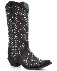 Corral Women's Black Full Studded Western Boots - Snip Toe, Dark Brown, hi-res