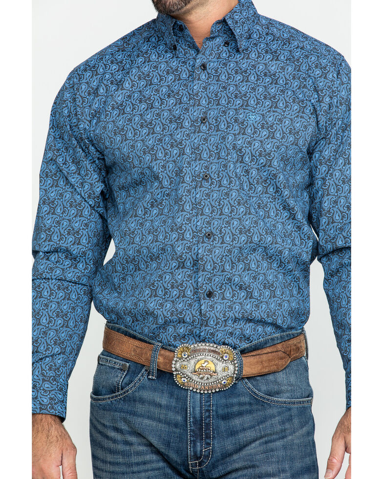 Ariat Men's Hanson Stretch Paisley Print Fitted Long Sleeve Western Shirt , Black, hi-res