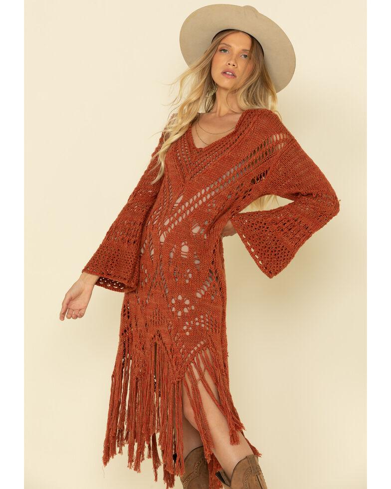 Free People Women's Rust Constellation Fringe Dress, Brown, hi-res