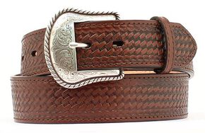 Double S Basketweave Embossed Leather Belt - Big, Brown, hi-res