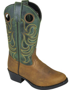 Smoky Mountain Boys' Henry Distressed Leather Western Boot - Round Toe, Brown, hi-res