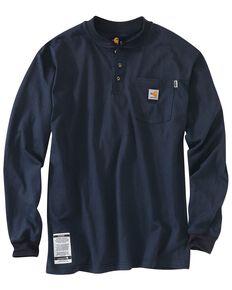 Carhartt Men's FR Solid Long Sleeve Work Henley Shirt - Big & Tall, Navy, hi-res