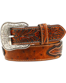 Ariat Men's Ostrich Print Circle Concho Belt , Brown, hi-res