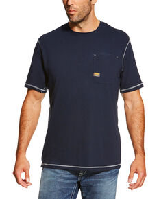 Ariat Men's Navy Rebar Crew Short Sleeve Pocket Tee - Tall, Navy, hi-res