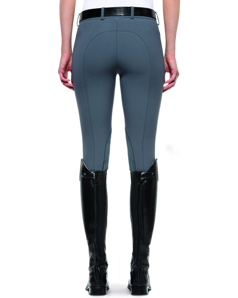 Ariat Women's Olympia Low Rise Front Zip Knee Patch Breeches, Granite, hi-res