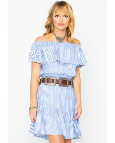 Wrangler Women's Off Shoulder Western Fashion Dress , Ivory, hi-res