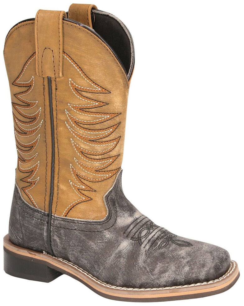 Smoky Mountain Youth Boys' Prescott Western Boots - Square Toe, Black/tan, hi-res