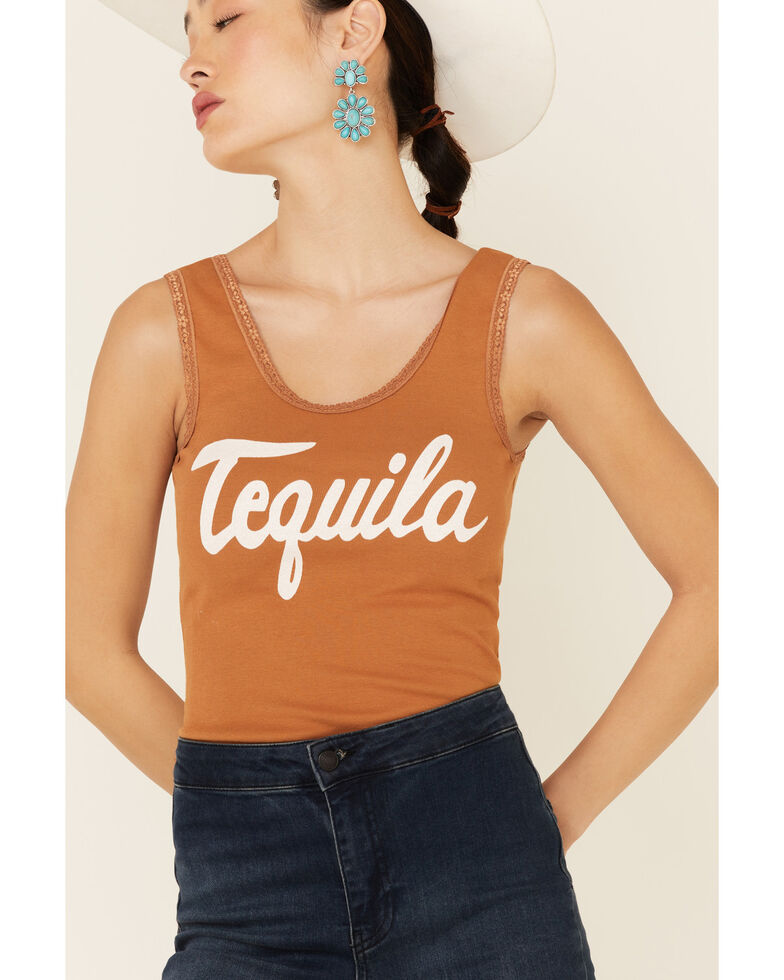 Bandit Women's Cognac Tequila Graphic Lace Trim Tank Top , Cognac, hi-res