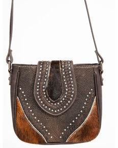 Shyanne Women's Tooled Metallic Hair On Crossbody, Coffee, hi-res