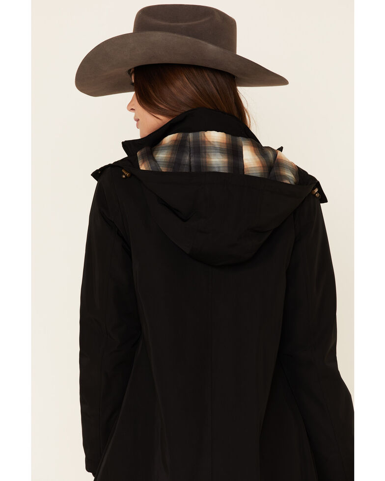 Pendleton Black Techrain Hooded Long Coat, Black, hi-res