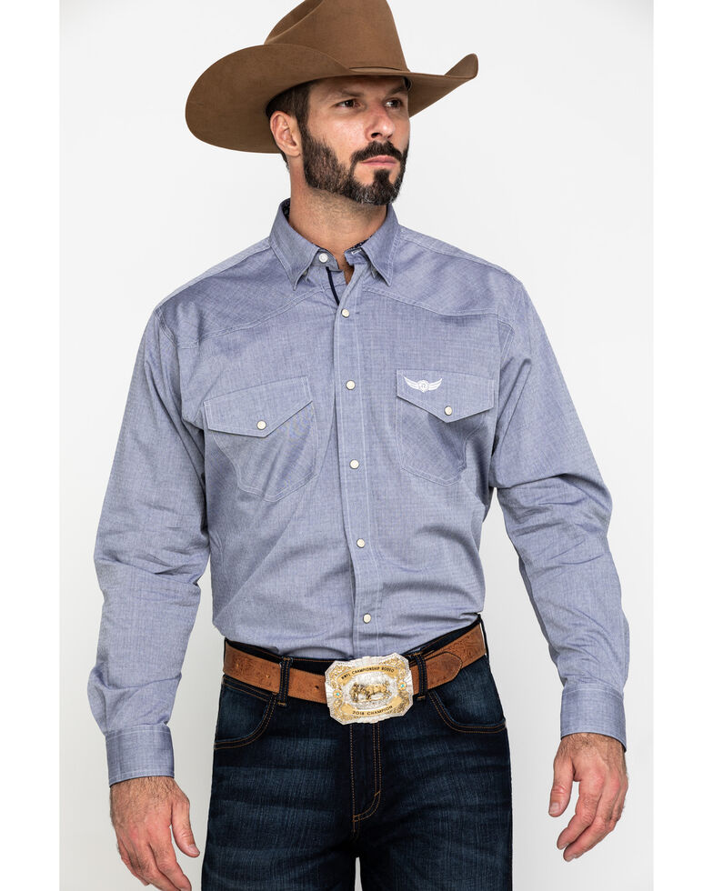 Ariat Men's Relentless Fearless Stretch Dobby Solid Long Sleeve Western Shirt, Multi, hi-res