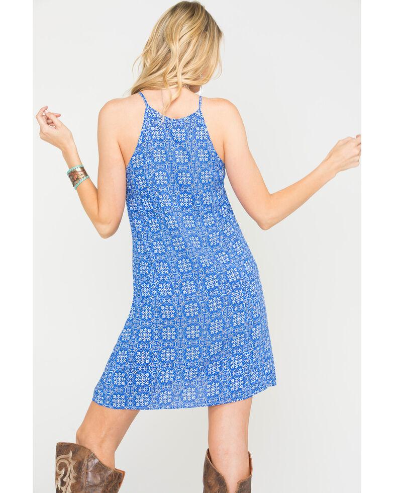 Roper Women's Blue Tile Print Trapeze Dress , , hi-res